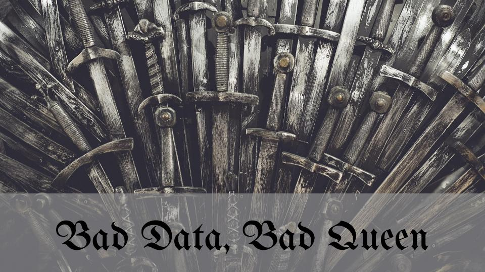 """throne of swords with text """"bad data bad queen?"""""""