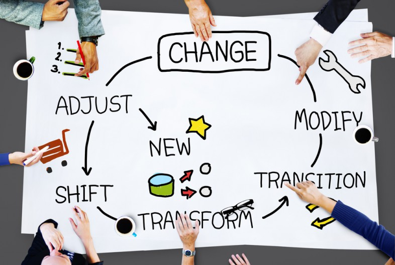 marketers work on a poster board featuring change, modify, transition, transform, shift, and adjust