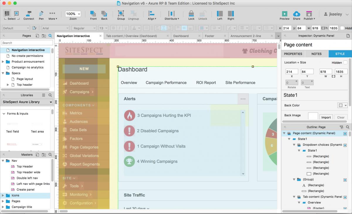 screenshot of Axure dashboard for design