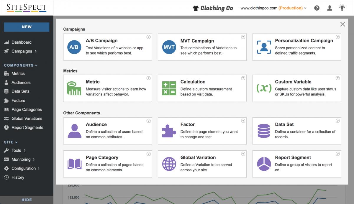 screen shot of sitespect new navigation