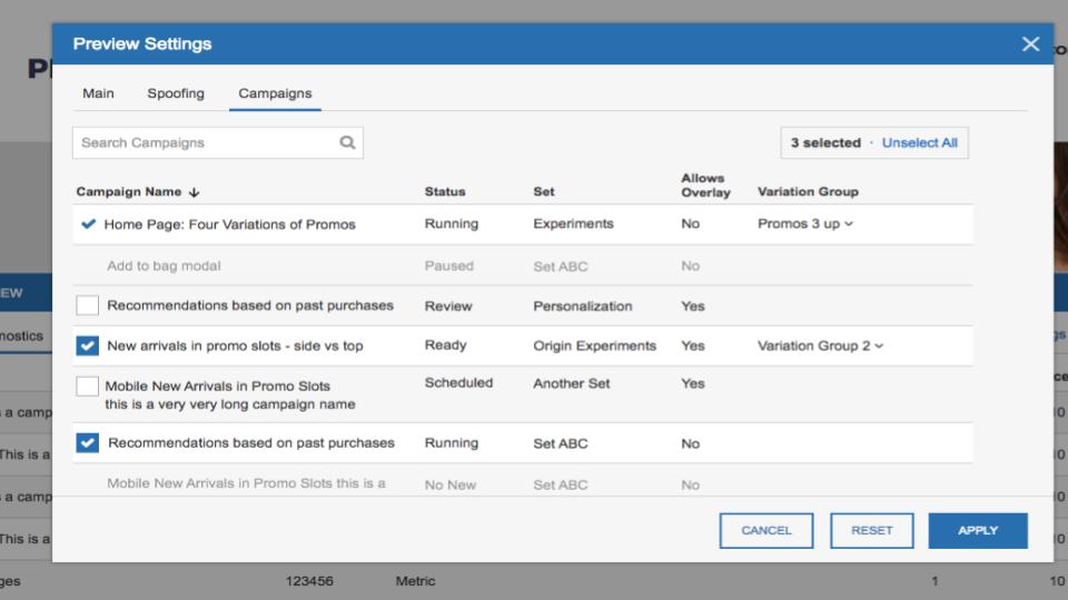 screenshot of preview capabilities in SiteSpect