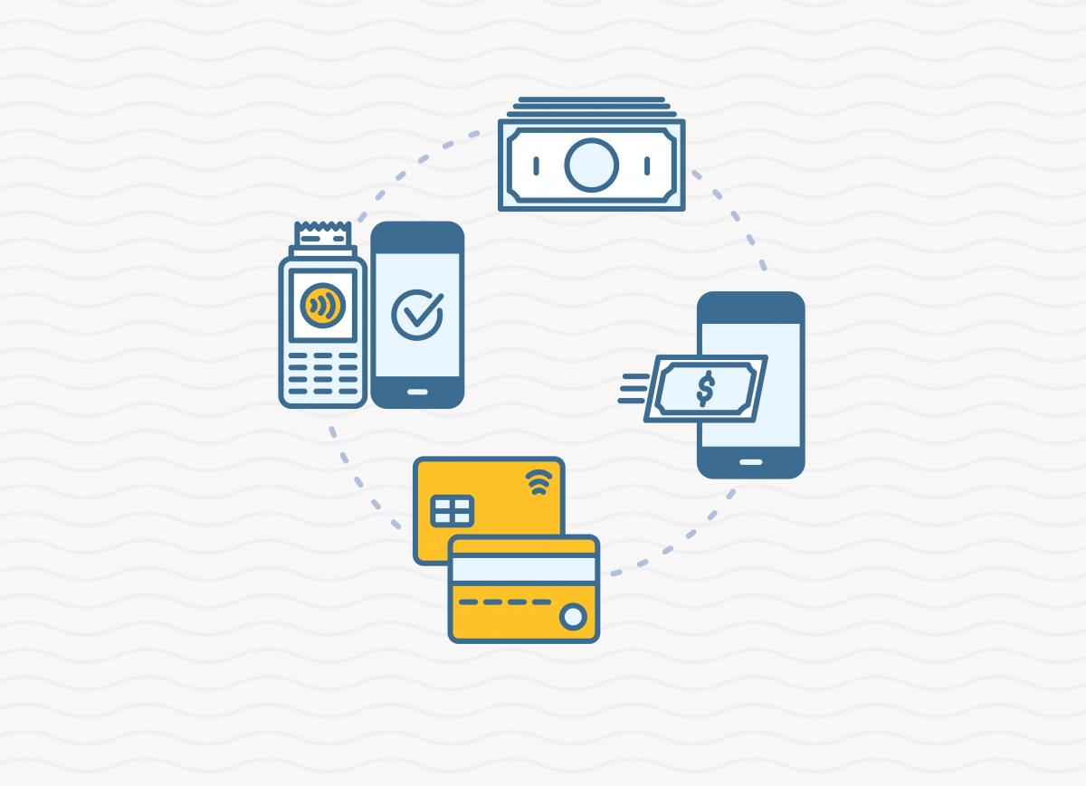 cartoon of several payment methods