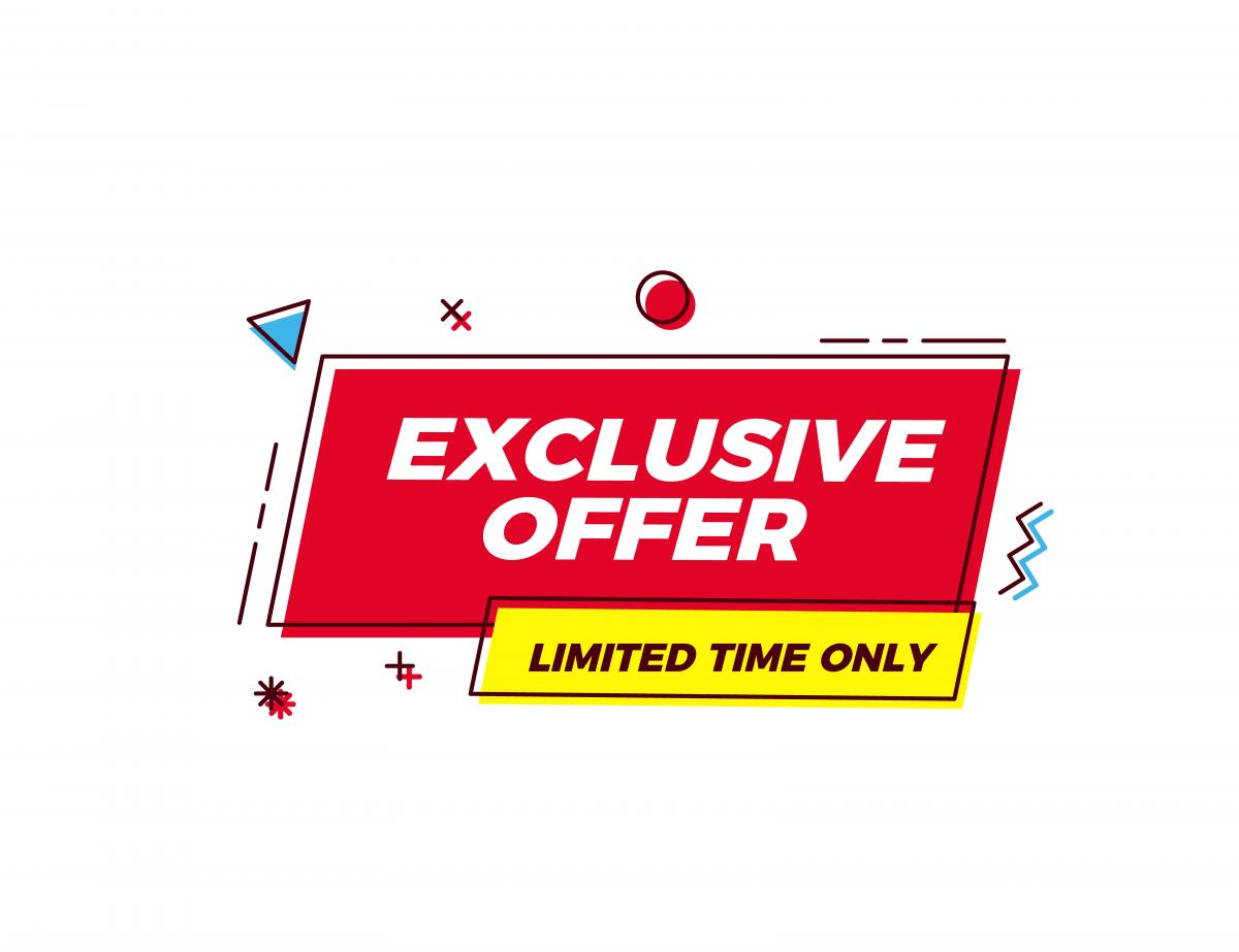 cartoon of exclusive offer banner