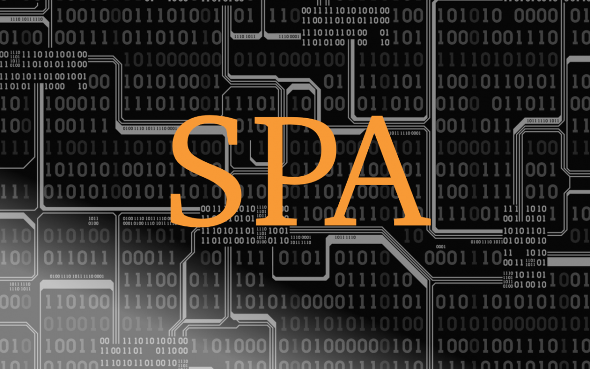 """binary code with the letters """"SPA"""" in orange"""