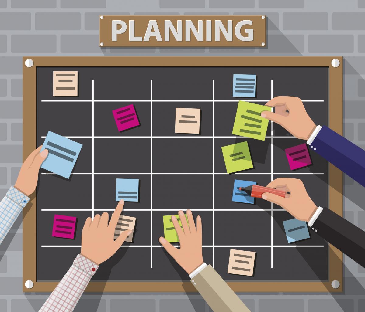 bulletin board for planning priorities