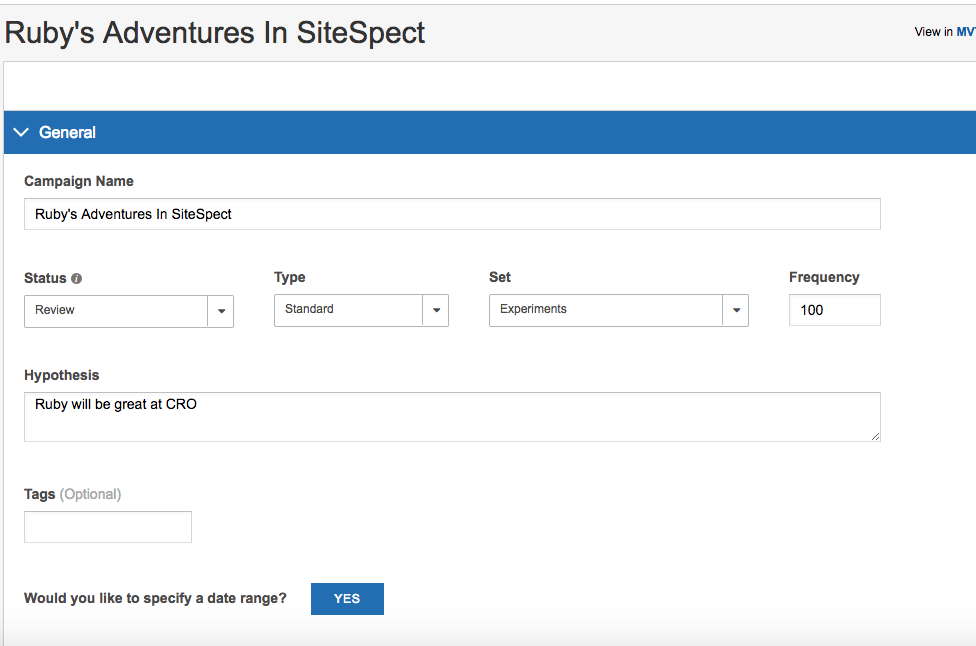 screenshot title and hypothesis in sitespect