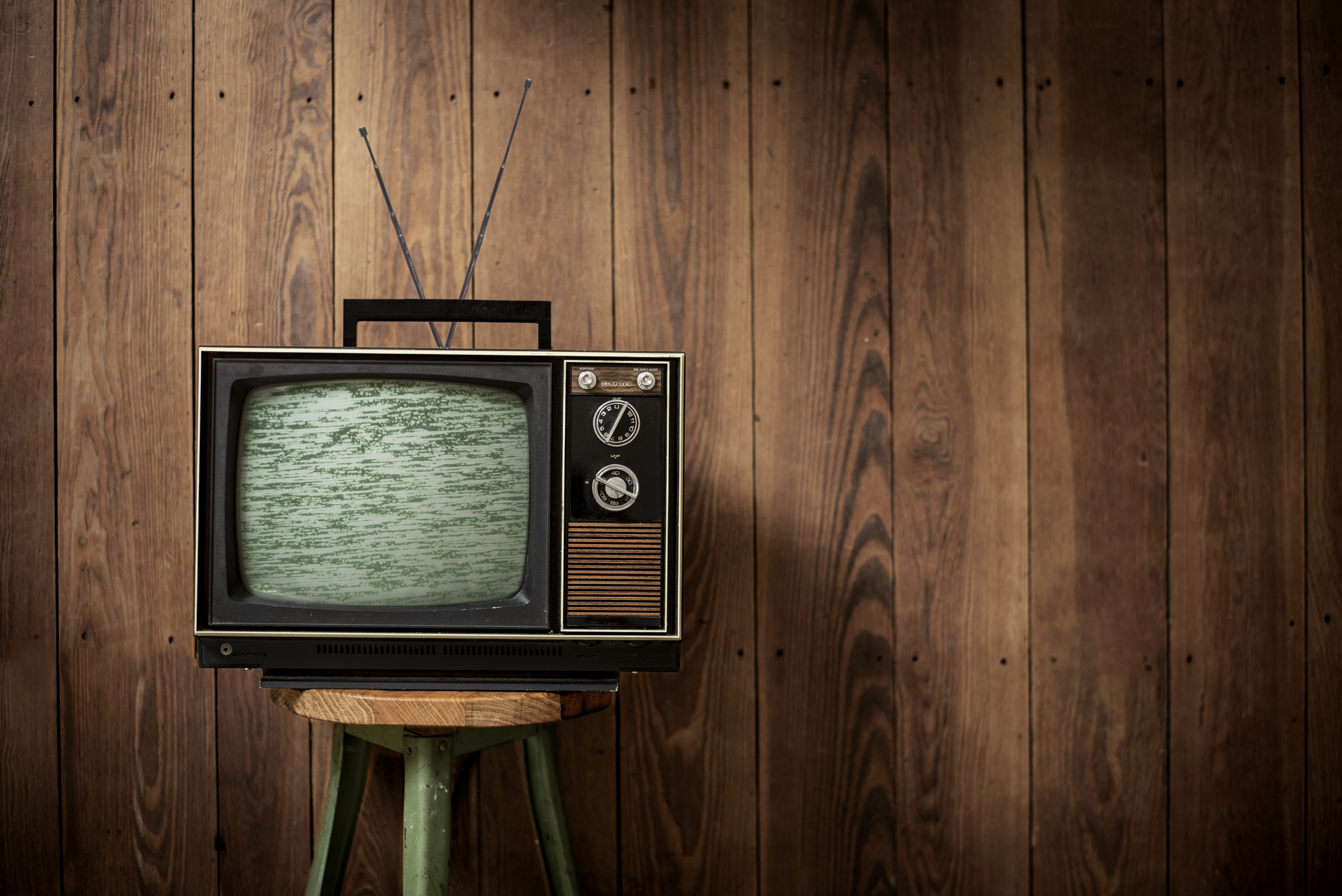 vintage television with static