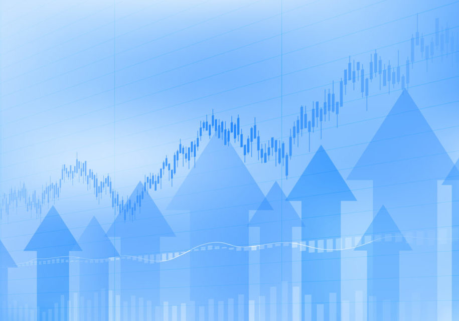 Abstract financial chart with uptrend line candlestick graph and arrows in stock market on blue color background