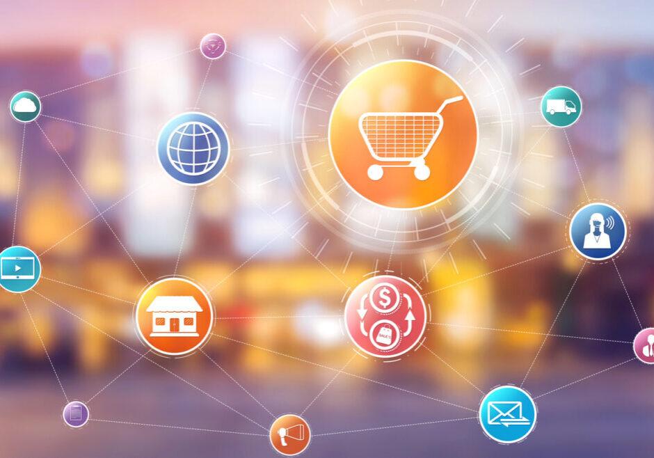 Omni channel technology of online retail business. Multichannel marketing on social media network platform offer service of internet payment channel, online retail shopping and omni digital app.
